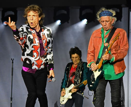 Mick Jagger, Ronnie Wood and Keith Richards of the Rolling Stones perform at The Velodrome Stadium in Marseille on June 26, 2018, as part of their 'No Filter' tour.