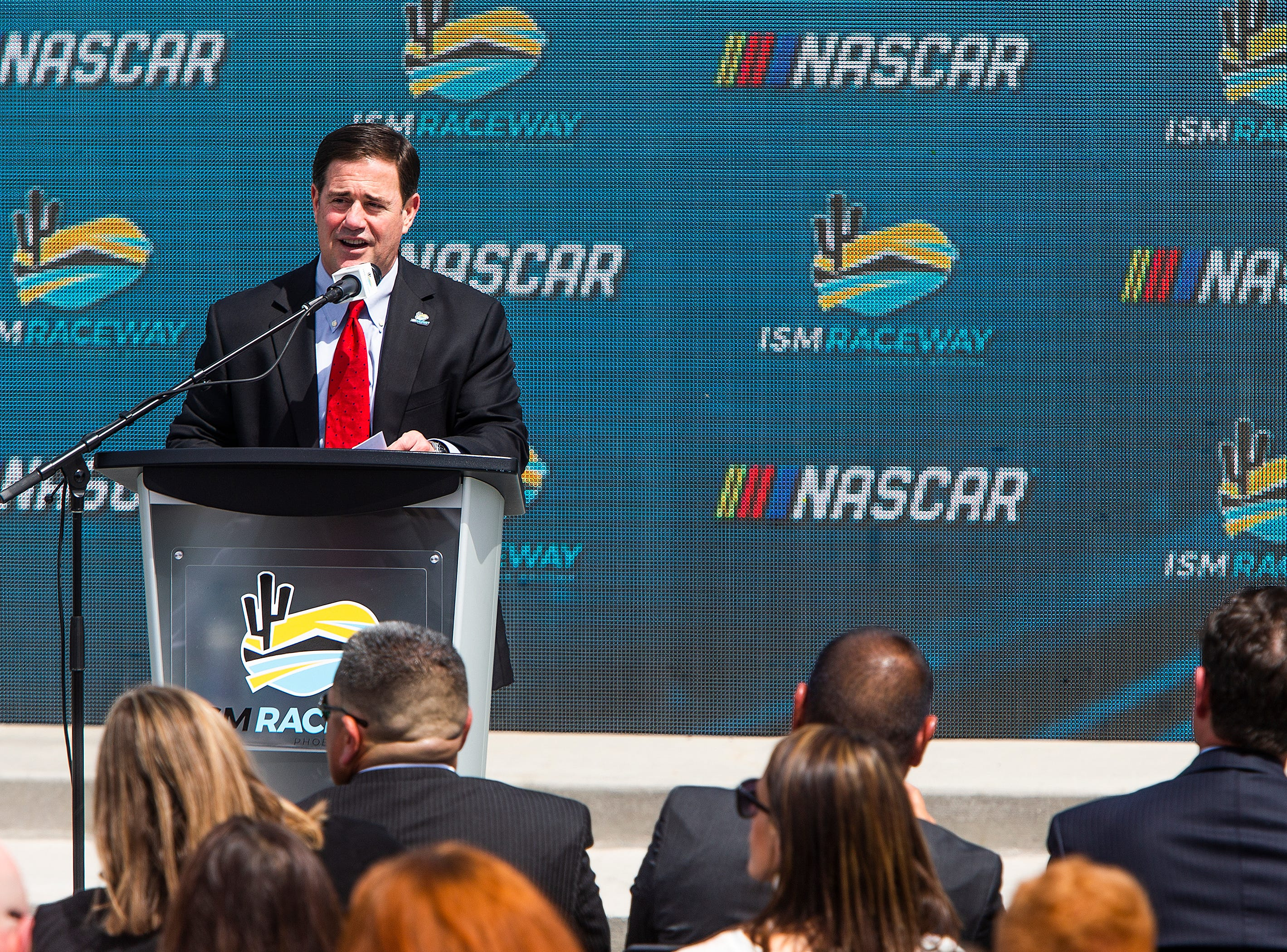Gov. Doug Ducey speaks March 26, 2019, about the announcement that the NASCAR Championship Weekend will be coming to ISM Raceway in Avondale, November 6-8, 2020.