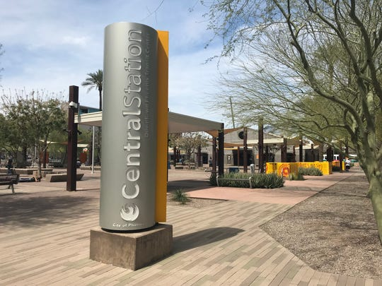 The Public Transit Phoenix Central Station transit center, located at 300 N. Central Ave., on March 26. The Phoenix City Council is considering a new development to replace the center with two towers of apartments, office space, hotel rooms and student housing.