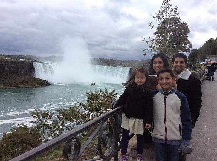 Bryan Wilson, 12, with his family at Niagara Falls State Park in New York.