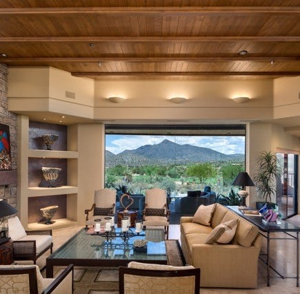 $2.91 Scottsdale golf course lot house has wood-inlaid ceilings and mountain views