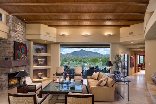 The 5,063-square-foot Scottsdale house, sold by Suzanne Haskel,  features wood inlaid ceilings.