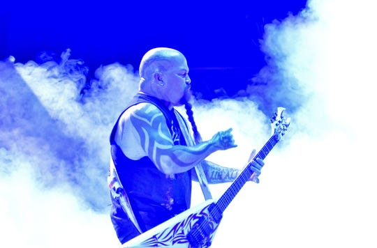 Kerry King of Slayer performs during their Final World Tour at Wiener Stadthalle concert hall in Vienna, Austria, on November 23, 2018.