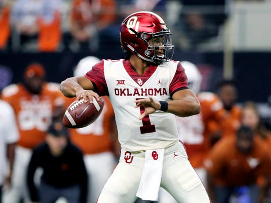 Oklahoma quarterback Kyler Murray looks to throw during the first quarter of a game against Texas on Dec. 1.