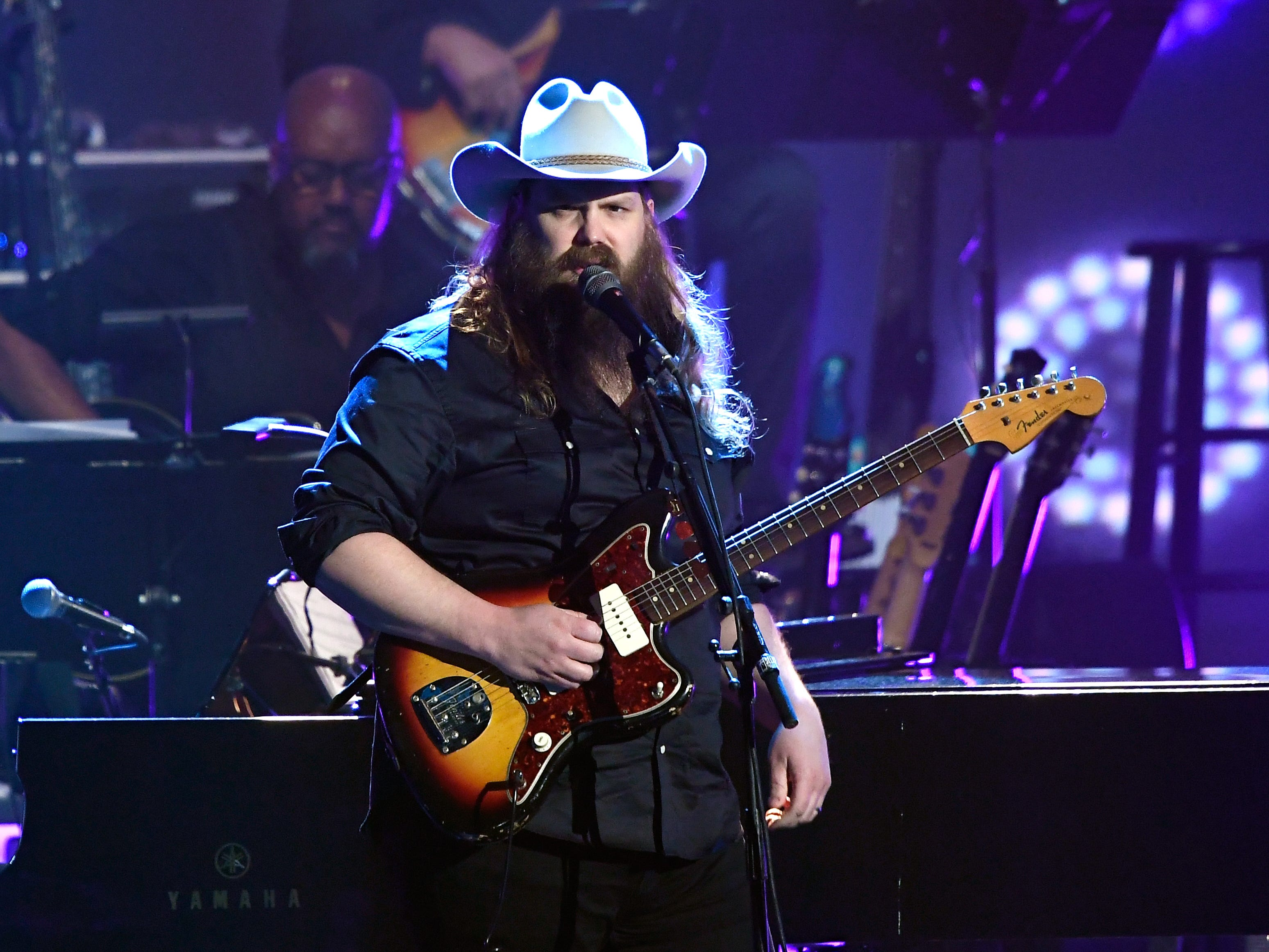 Chris Stapleton performs during MusiCares Person of the Year honoring Dolly Parton at Los Angeles Convention Center on February 8, 2019 in Los Angeles.