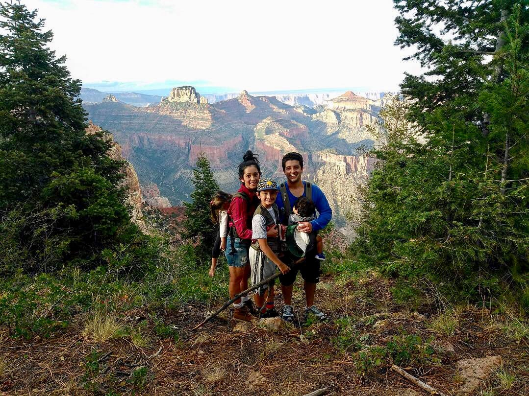 Bryan Wilson, 12, with his family on the north rim at Grand Canyon National Park.