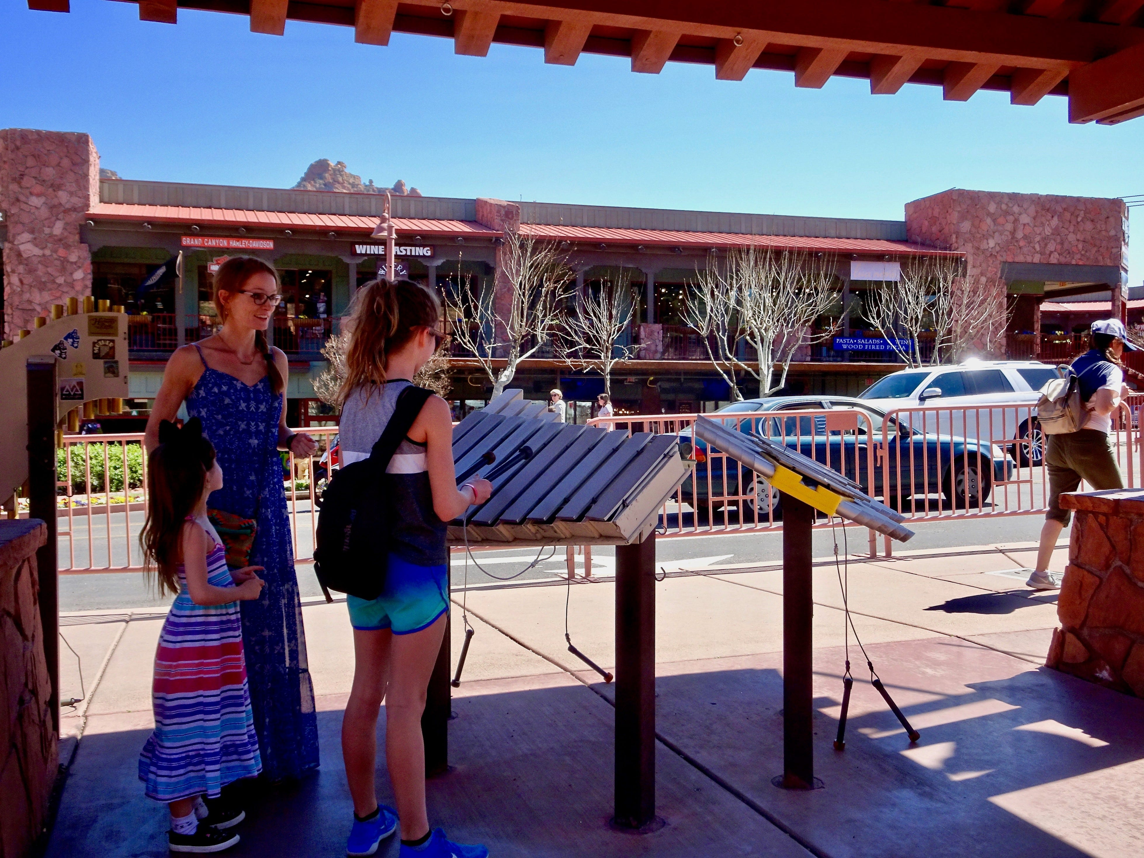 When browsing the shops of Uptown Sedona, look for public sculptures and musical instruments.
