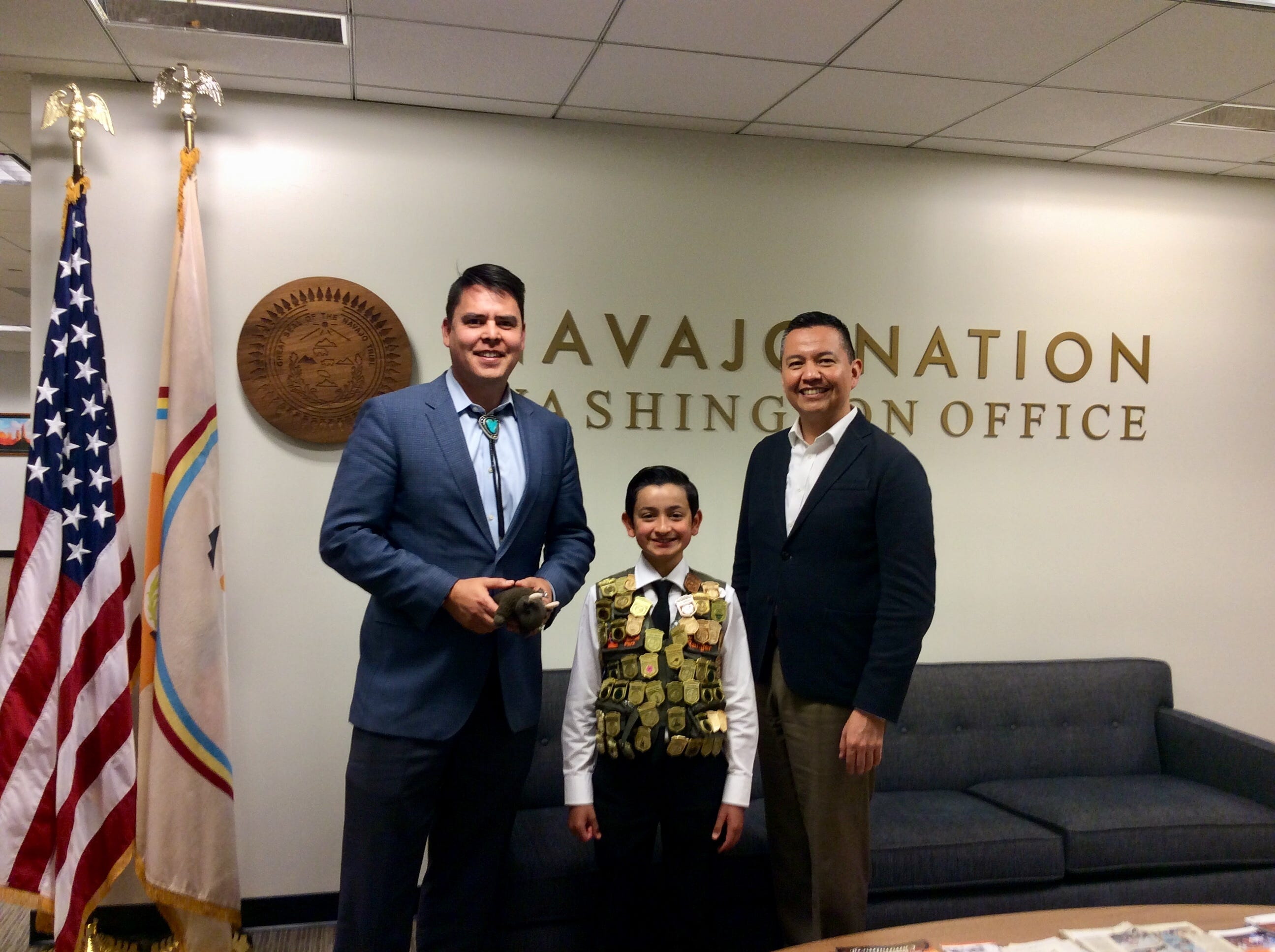 Bryan Wilson, 12, making the rounds in Washington, D.C., including meeting with Navajo Nation council members.