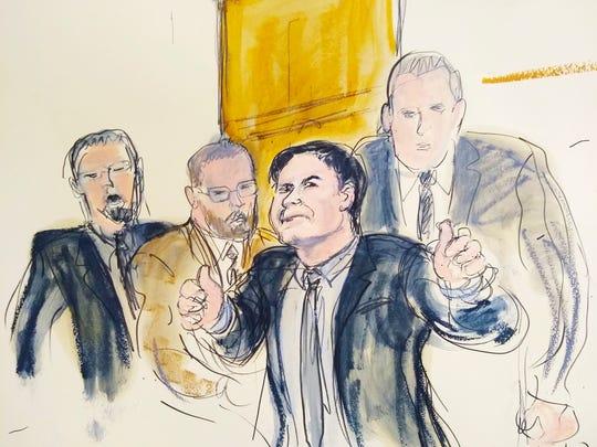 En este retrato hablado se muestra a 'El Chapo' Guzmán rodeado de los alguaciles de EEUU, mientras saluda a su esposa Emma Coronel.