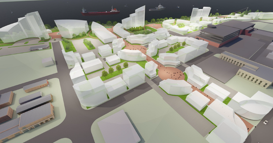 Conceptual drawings show a series of plaza and other buildings on land owned by Acheson Ventures.