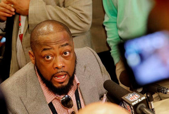 Pittsburgh Steelers head coach Mike Tomlin speaks to the media during the NFC/AFC coaches breakfast at the annual NFL football owners meetings, Tuesday, March 26, 2019, in Phoenix. (AP Photo/Matt York)