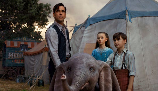 "Colin Farrell, Nico Parker and Finley Hobbins star in  ""Dumbo."" The movie opens Friday at Regal West Manchester Stadium 13, Frank Theatres Queensgate Stadium 13 and R/C Hanover Movies."