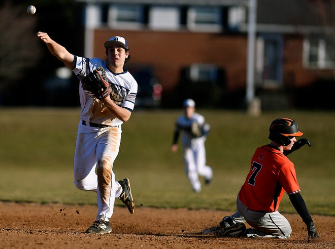 Pete Capobianco is seen here making a throw from his shortstop position. The Dallastown High standout has verbally committed to play NCAA Division I baseball for Gardner-Webb.