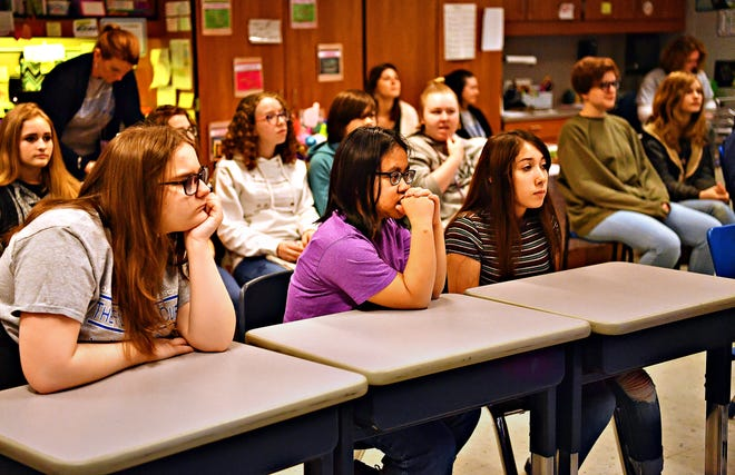 Students look on as Ashton Whitmoyer, of York College, addresses a group of female students about Digital Citizenship during one of six informative sessions held during Think About It Day, at Dallastown Area Middle School, in York Township, Tuesday, March 26, 2019. Dawn J. Sagert photo