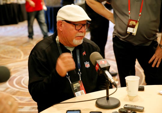 Tampa Bay Buccaneers head coach Bruce Arians speaks to the media during the NFC/AFC coaches breakfast during the annual NFL football owners meetings, Tuesday, March 26, 2019, in Phoenix. Arians is returning to coaching after he retired from the Arizona Cardinals a year ago. He was hired in January by Tampa Bay, and this month he brought on Maral Javadifar and Lori Locust as full-time assistant coaches. (AP Photo/Matt York)