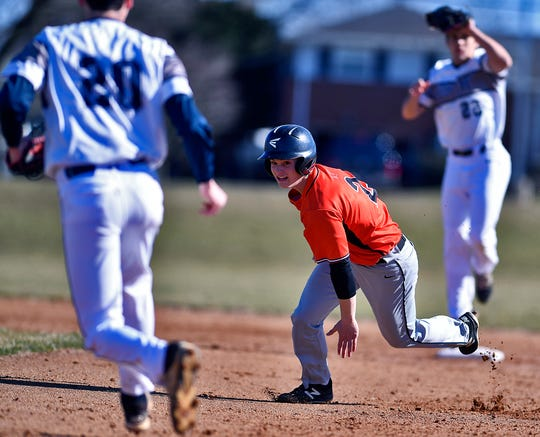 York Suburban's Spencer Butz, seen here getting caught in a rundown against Dallastown, has been selected for the Big 26 Baseball Classic Pennsylvania roster. John A. Pavoncello photo