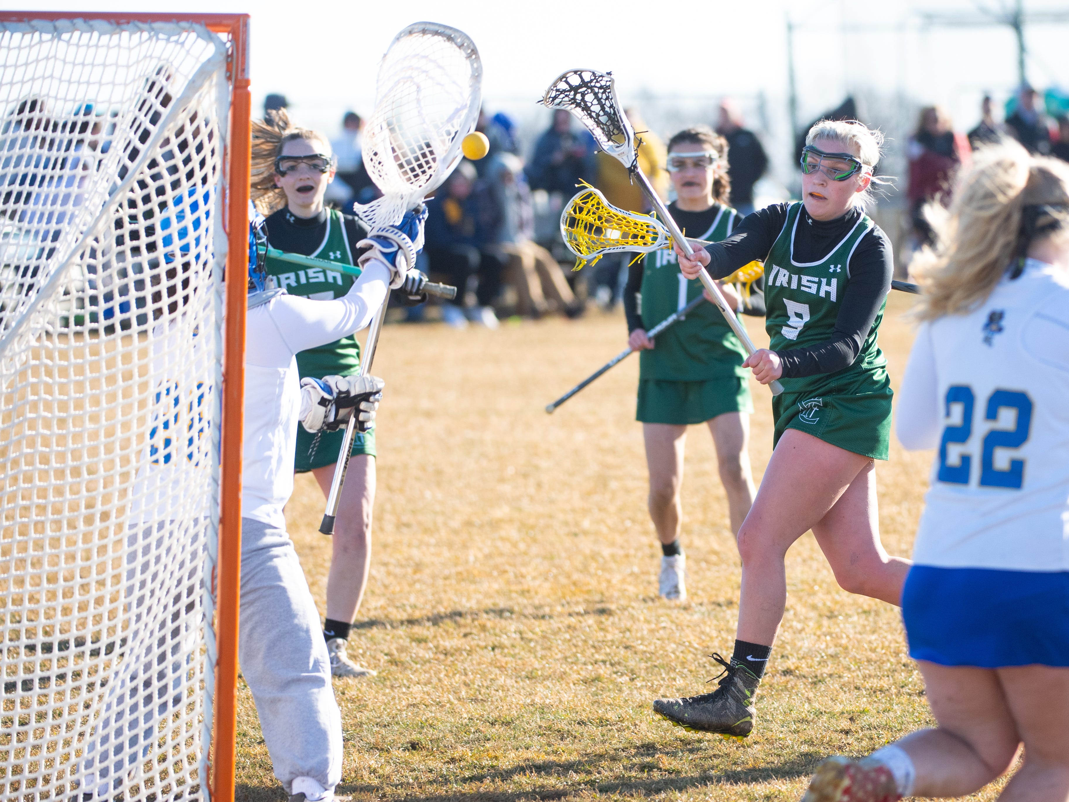 Kennedy Eckert (9) takes the shot during the girls' lacrosse game between Kennard-Dale and York Catholic, March 26, 2019 at Kennard-Dale High School. The Fighting Irish defeated the Rams 10 to 9.