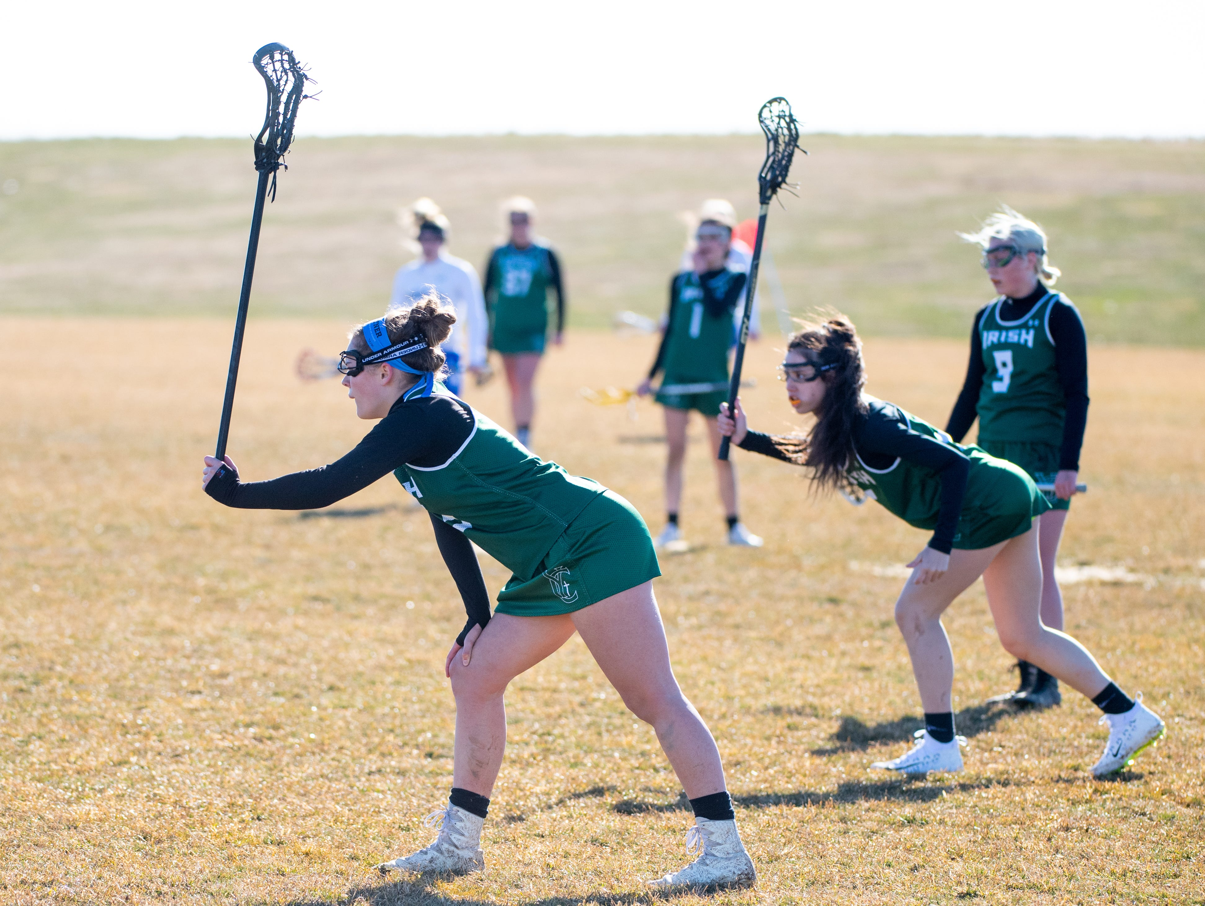 York Catholic takes up defensive positions during the girls' lacrosse game between Kennard-Dale and York Catholic, March 26, 2019 at Kennard-Dale High School. The Fighting Irish defeated the Rams 10 to 9.