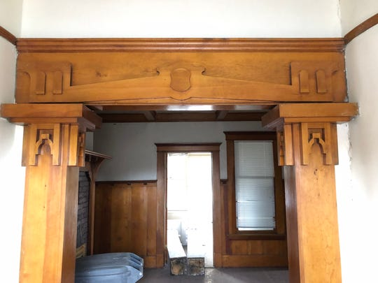 A carved entablature and piers are among the surviving original details in the historic Humphrey House being moved from the UNR Gateway District.