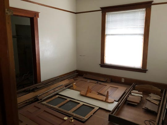 Original doors, molding and other elements of the historic Humphrey House are being preserved for later renovations after the residence has been moved from the UNR Gateway District to South Arlington Avenue.
