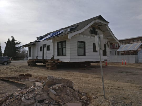 The historic Humphrey House in the UNR Gateway District rests off-foundation in preparation for its move to South Arlington Avenue on March 28, 2019.