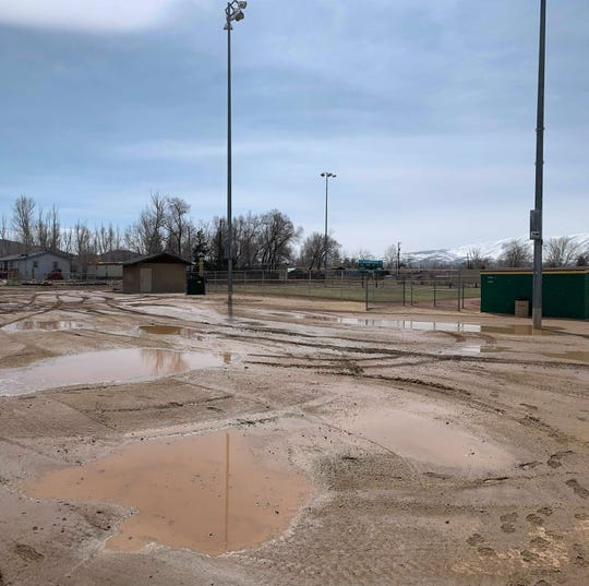 The baseball fields in Lemmon Valley are closed due to too much water on the fields.