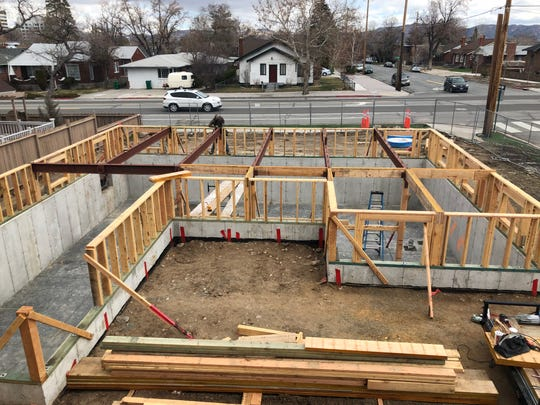 The basement and foundation for the historic Humphrey House are taking shape at its new location on South Arlington at Saint Lawrence avenues in Old Southwest Reno. The home is being moved from the UNR Gateway District.