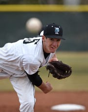 North Valleys' Daniel Sieverin pitches against the Lowry Buckaroos at North Valleys High School on March 22.
