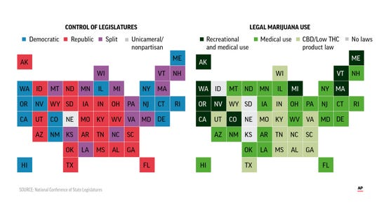 Map shows legal status of marijuana consumption by state; control of state legislatures.