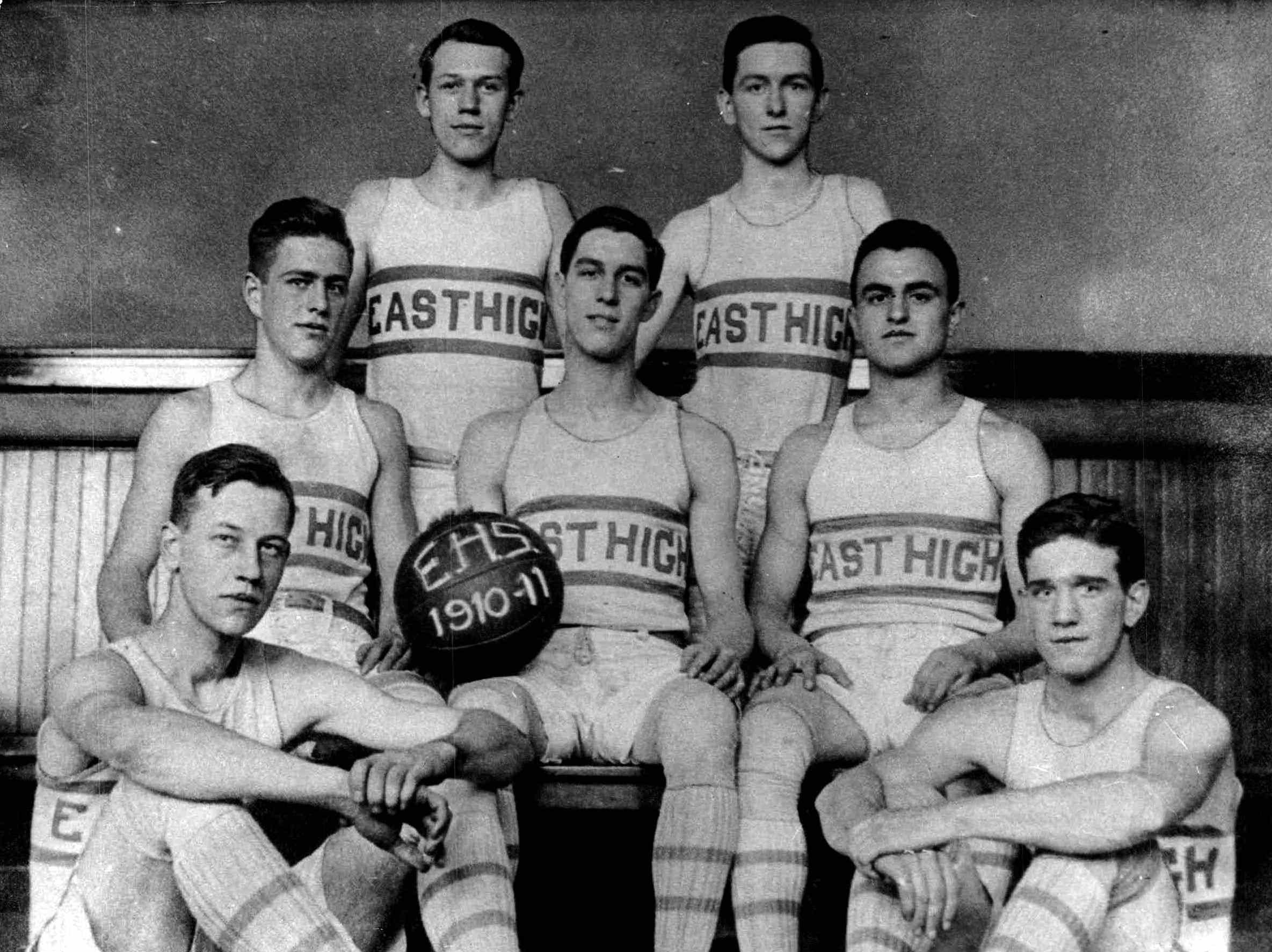 Undefeated 1910-11 Team - Winners of 17 straight games, East High's famed team claimed the scholastic championship of New York State...and America. Team members were (tp) Davis Doron, Ed Doyle; (middle) Harold Doane, Capt. George Malone, Clem Lanni; (bottom) Fred Bloom, Johnny Murphy.