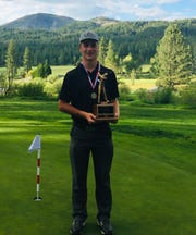 U-Prep golfer Mark Stephens poses with his trophy from the 2018 Northern Section Masters championship.