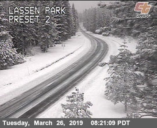 A California Department of Transportation traffic cam shows the road conditions Tuesday morning from the south side of eastbound Highway 44 at Lassen Volcanic National Park's north entrance.