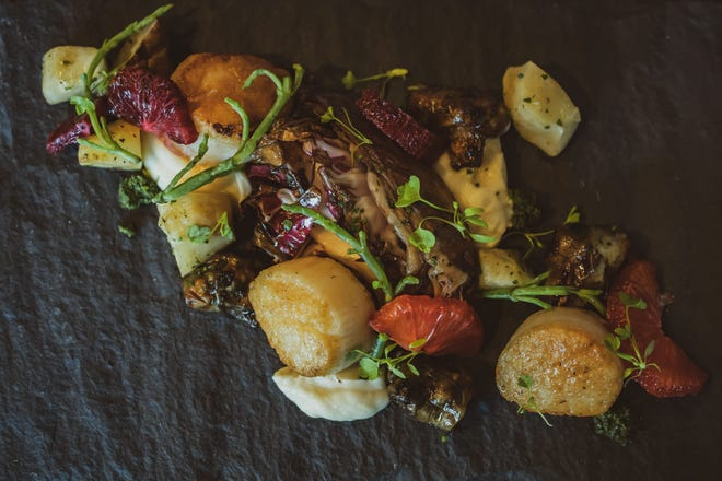 Seared sea scallops  at Red Hills Kitchen, a new restaurant at the Atticus Hotel in McMinnville from Chef Jody Kropf.