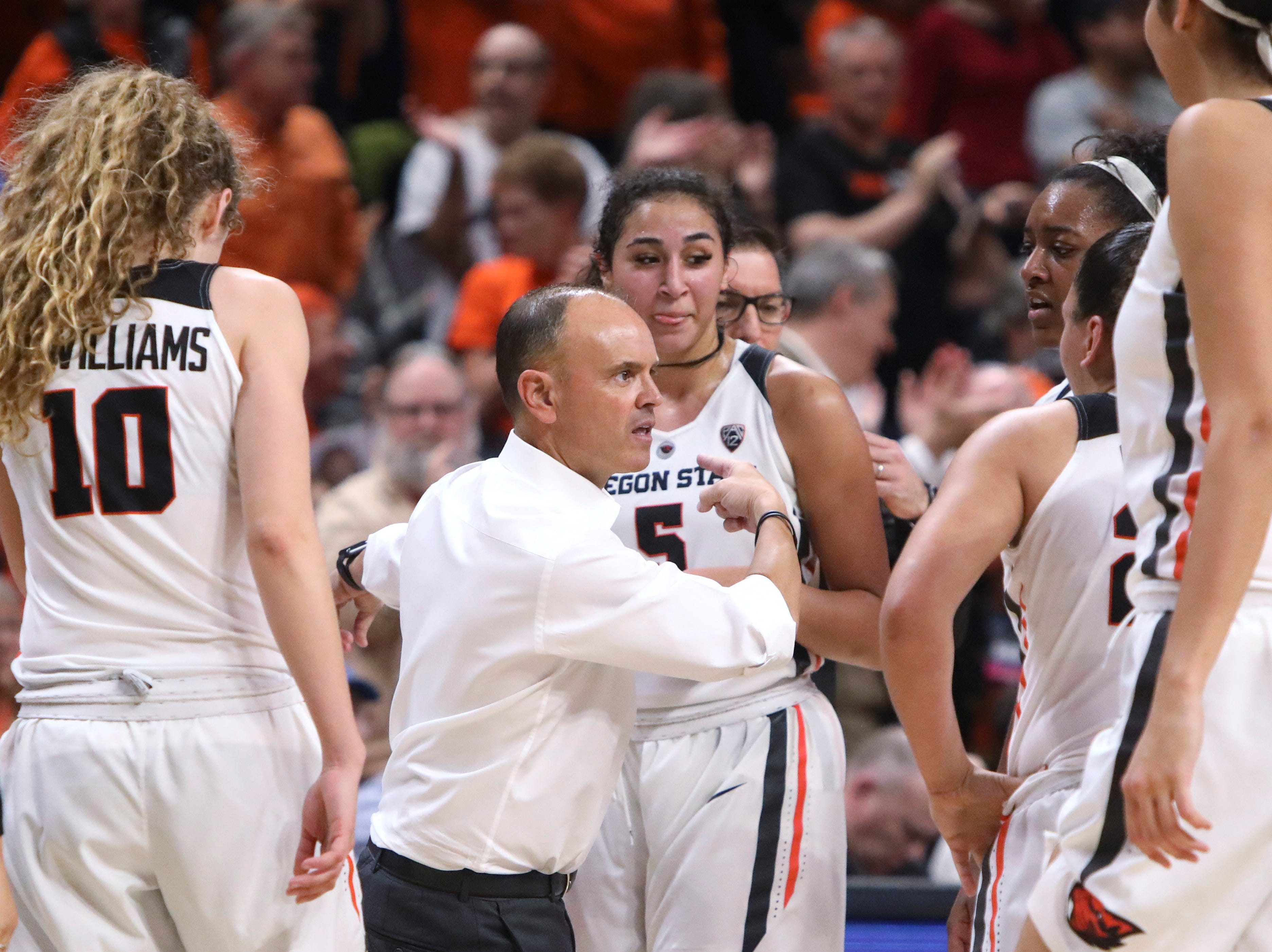 Oregon State coach Scott Rueck talks to players during a timeout in the second half against Gonzaga in a second-round game of the NCAA women's college basketball tournament in Corvallis, Ore., Monday, March 25, 2019. Oregon State won 76-70. (AP Photo/Amanda Loman)