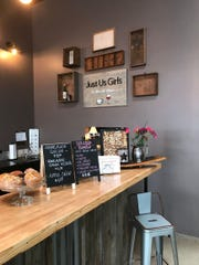 Just Us Girls Coffee & Wine Bar, pictured here on Feb. 27, 2019, features coffee beverages, smoothies, beer, wine, and breakfast and lunchtime options.