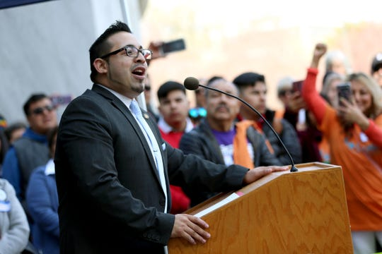 Rep. Diego Hernandez, D-Portland speaks speaks to a crowd a rally for the Equal Access to Roads Act at the Oregon State Capitol on March 25, 2019. The bill would allow non-citizens to obtain drivers licenses.