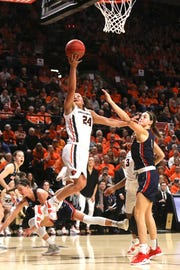 Oregon State's Destiny Slocum (24) goes to the basket past Gonzaga's Jenn Wirth during the second half of a second-round game of the NCAA women's college basketball tournament in Corvallis, Ore., Monday, March 25, 2019. Oregon State won 76-70. (AP Photo/Amanda Loman)