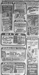 This page of Concho Theater ads from a February 1953 issue of the San Angelo Standard-Times features Peter Pan and more.