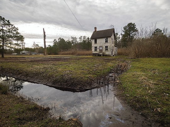 Brackish water stands in the moatlike ditches surrounding a home west of Princess Anne.