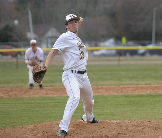 Mardela pitcher Nathan Harper throws a pitcher against Pocomoke on Monday, March 25, 2019.