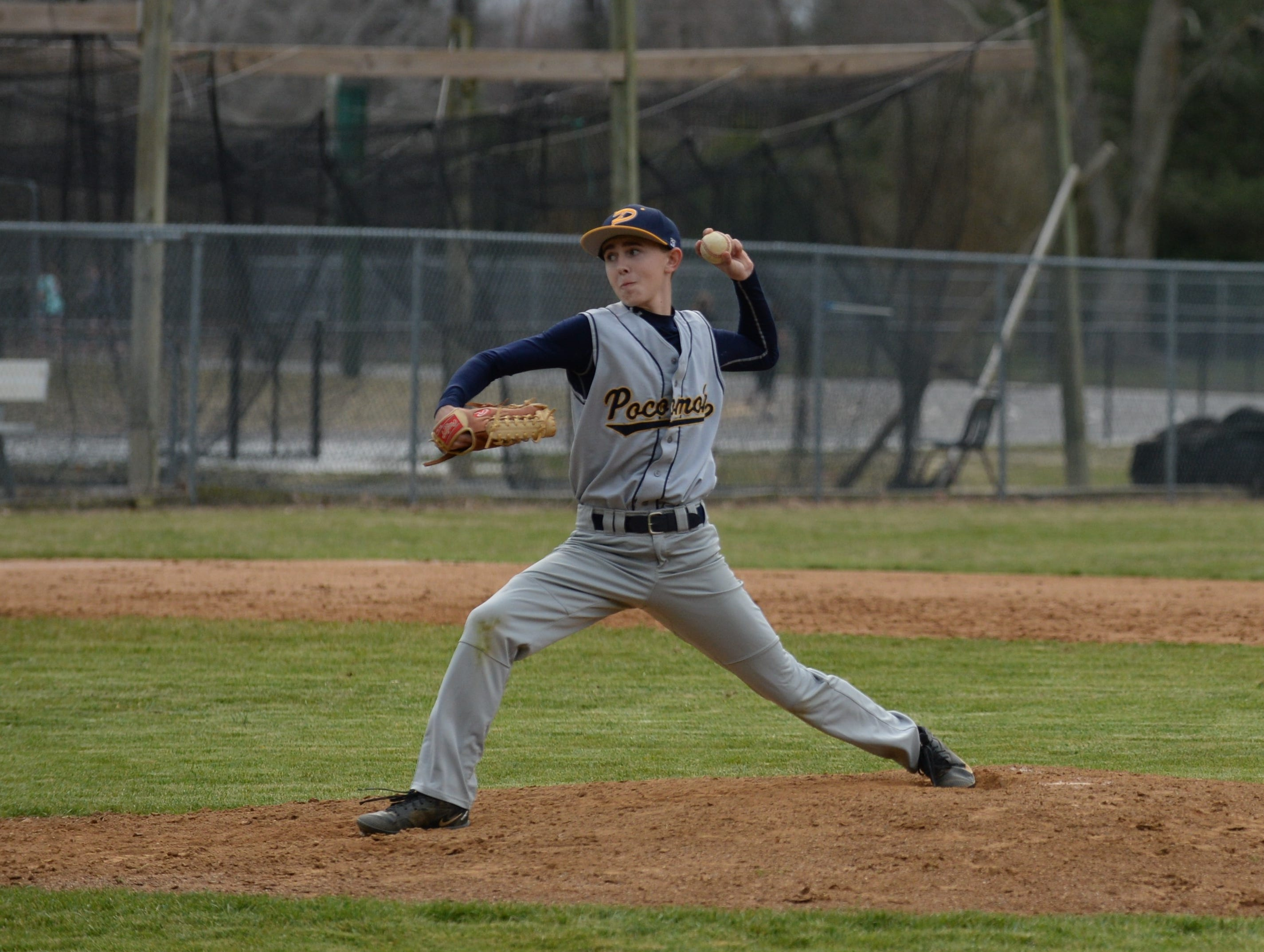 A Pocomoke pitcher throws against Mardela on Monday, March 25, 2019.