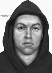 """Sketch drawing of """"person of interest"""" in the homicide case of Caleb Pippenger."""