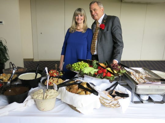 """June and Dr. Lee Stevens at 50-year physicians' """"Doctors' Day Celebration."""""""