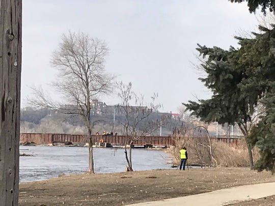 Crews responded to a water rescue Tuesday afternoon in downtown Sioux Falls for a report of a man in the Big Sioux River. Crews were able to make contact and pull him out of the river at the railroad bridge just upstream of Falls Park.