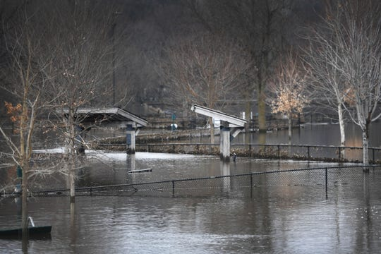 Flooding in Spencer Park Tuesday, March 26, in Sioux Falls.
