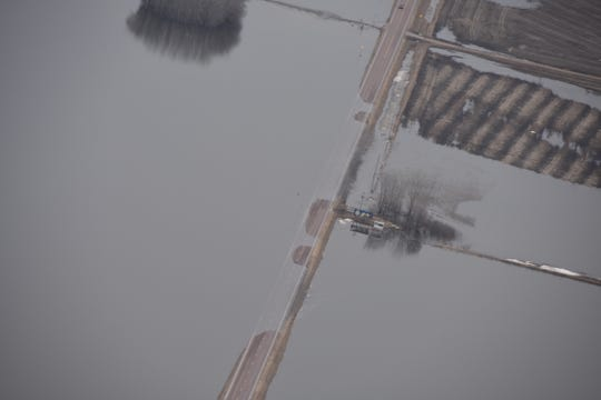 The Big Sioux River floods the Baltic area Saturday, March 23, 2019.