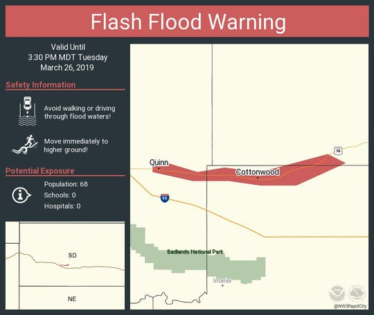 A flash flood warning has been issued for the area downstream of the Quinn Dam, including the Quinn and Cottonwood townships. Highway 14 has been closed in case of the dam fully breaching.