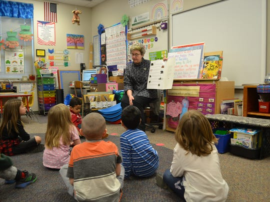 Kindergarten teacher Paula Parrish reads animal facts to her class Tuesday, March 26, 2019, at Susan B. Anthony Elementary. The school is one of two campuses that will start a junior kindergarten program in fall 2019 to help students not quite ready for class bridge the gap.