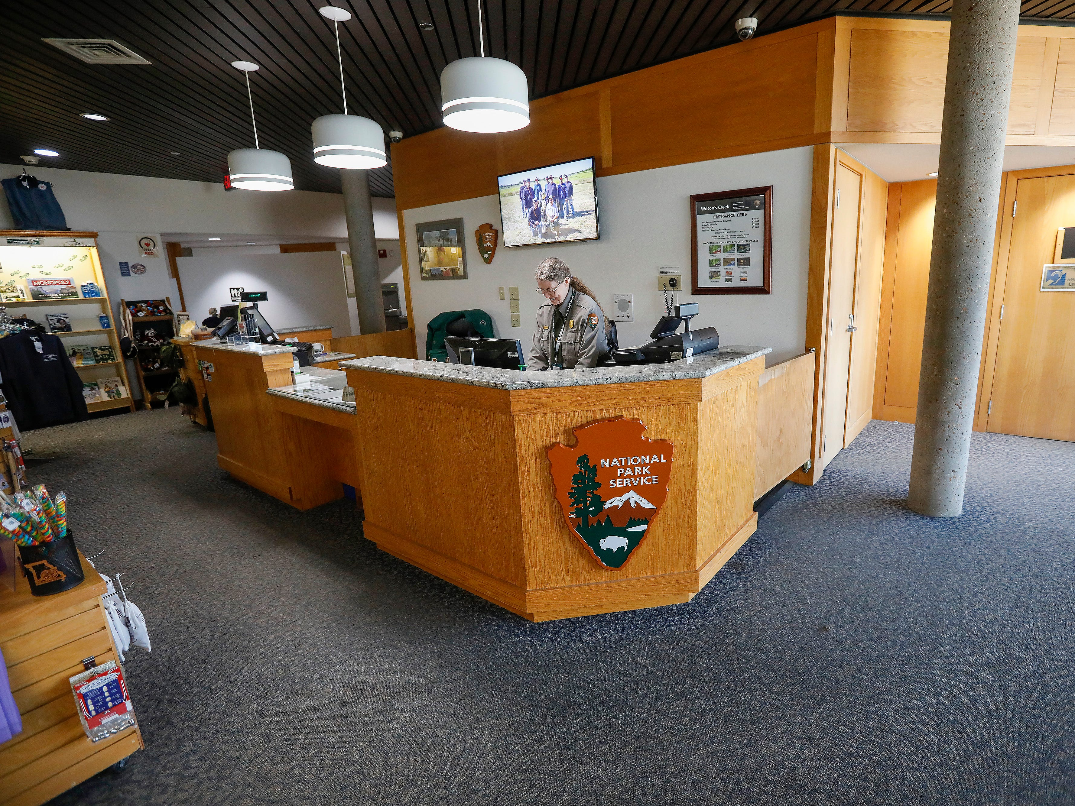 The front desk will be moved to the opposite wall and other changes will be made to the visitors center at Wilson's Creek National Battlefield during the renovation.
