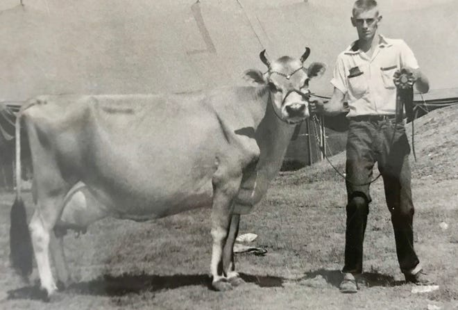 James Mac Case and June, a cow he bought for $410 in 1952. June was named the Grand Champion cow at the 1954 State Fair in Sedalia and that fall — for reasons Case does not recall — was on display in the Heer's Department Store for about a week.